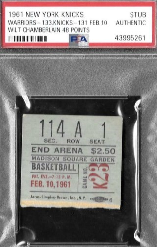 1961 Wilt Chamberlain 48 points ticket stub
