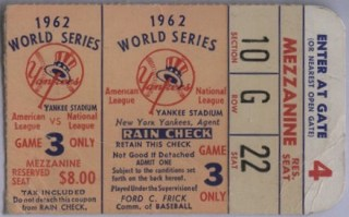 1962 World Series Game 3 ticket stub Yankees vs Giants 20.50