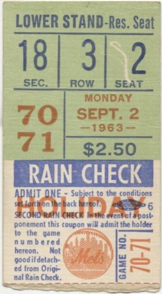 1963 Pete Rose Home Run ticket stub at Polo Grounds 20
