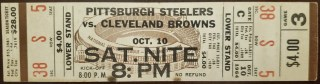 1964 Cleveland Browns ticket stub vs Steelers 45