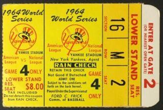 1964 World Series Game 4 ticket stub Yankees vs Cardinals 60