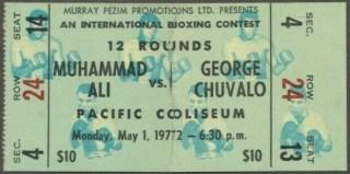 1972 Boxing ticket stub Muhammed Ali vs George Chuvalo 2200
