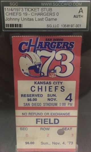 1973 Johnny Unitas Final Game Ticket Stub 450