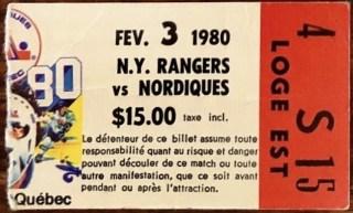 1980 Quebec Nordiques ticket stub vs New York