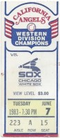 1983 California Angels ticket stub vs White Sox