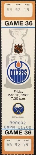 1985 Edmonton Oilers ticket stub vs Sabres