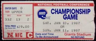 1987 NFC Championship ticket stub Redskins Giants