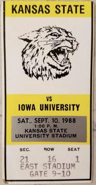 1988 NCAAF Kansas State ticket stub vs Iowa 29