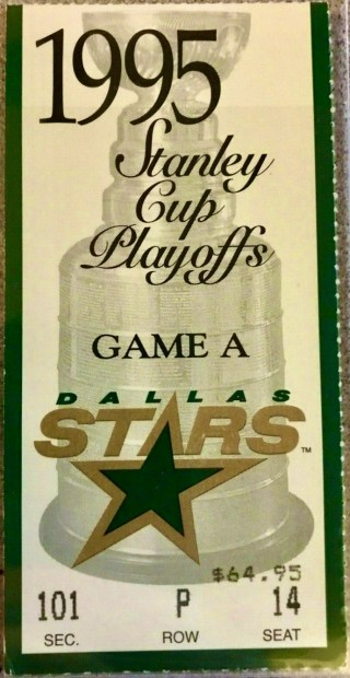 1995 Stanley Cup Final Game 3 ticket stub Dino Ciccarelli Hat Trick 2.75