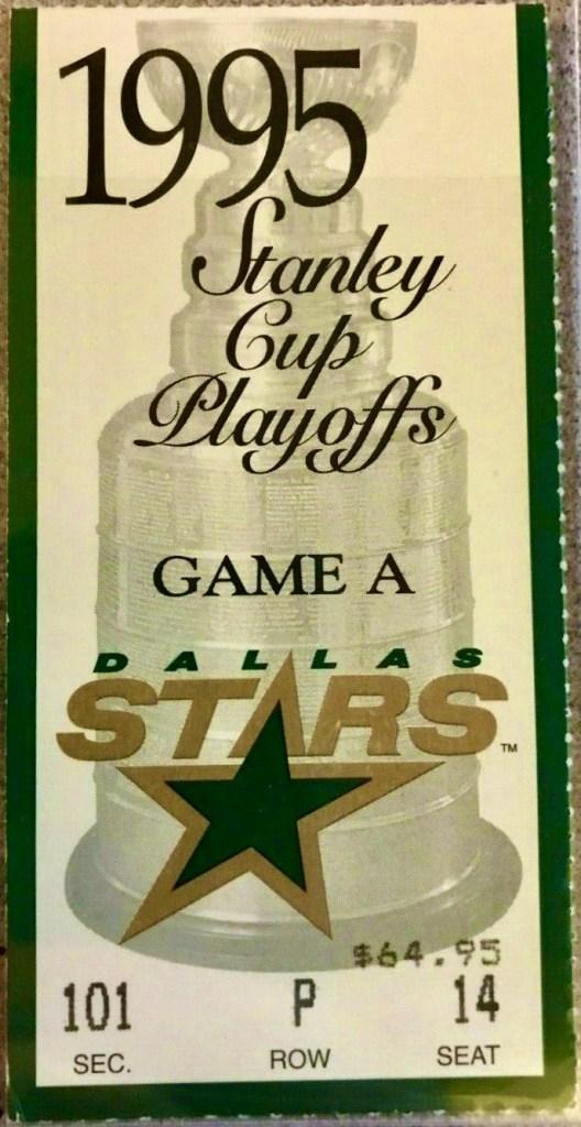 1995 Stanley Cup Playoffs Game 3 ticket stub Detroit Dallas