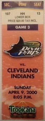 2000 Tampa Bay Devil Rays ticket stub vs Indians