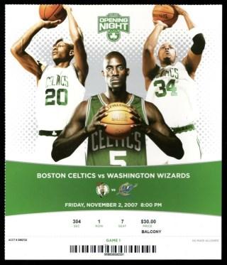 2007 Boston Celtics Opening Night ticket stub vs Wizards