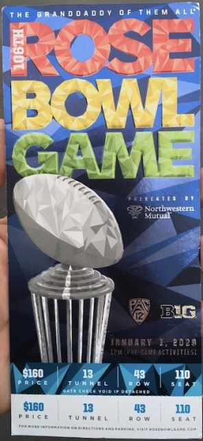 2020 Rose Bowl ticket stub Oregon vs Wisconsin