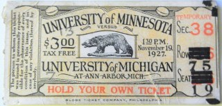 1927 NCAAF Michigan Wolverines ticket stub Minnesota