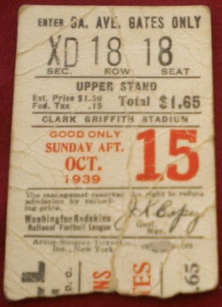 1939 NFL Washington Redskins vs Pittsburgh Pirates
