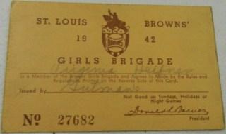 1942 St Louis Browns Girl's Brigade Season Pass