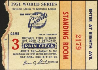 1951 World Series Game 3 Ticket Giants vs Yankees