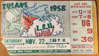 1958 NCAAF Tulane Green Wave ticket stub vs LSU
