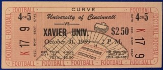1959 NCAAF Xavier Musketeers ticket stub vs Cincinnati