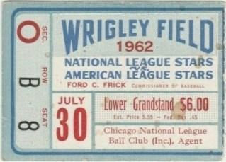 1962 MLB All-Star game ticket stub Wrigley Field 20