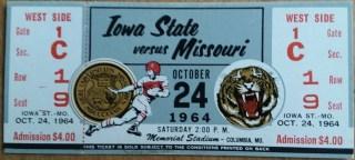 1964 NCAAF Missouri Tigers Unused Ticket vs Iowa State 7