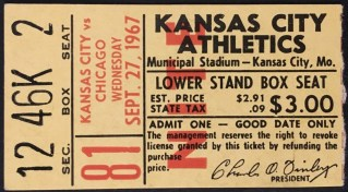 1967 Kansas City A's Final Home Game ticket stub 400