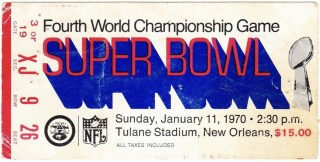 1970 Super Bowl ticket stub Chiefs Vikings Tulane Stadium
