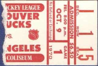1970 Vancouver Canucks ticket stub vs Kings 67