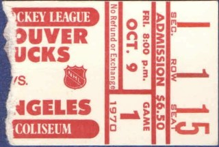 1970 Vancouver Canucks ticket stub vs Kings