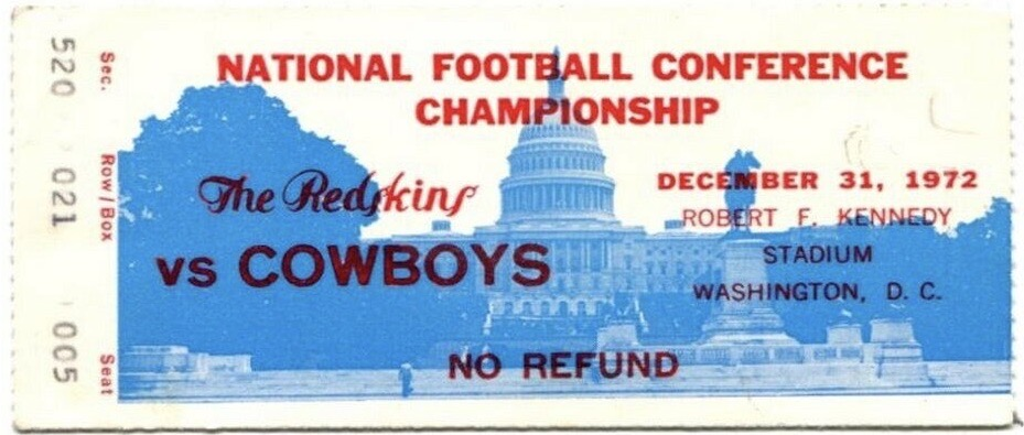 1972 NFC Championship Game ticket stub Washington Dallas