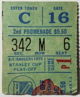 1975 Stanley Cup Playoff Ticket Stub Round 1 Game 1 Rangers Islanders 11