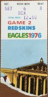 1976 Philadelphia Eagles ticket stub vs Washington