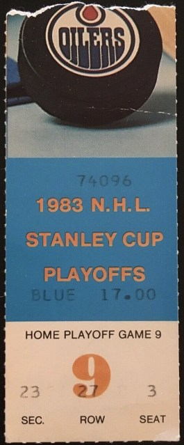 1983 Dave Semenko First Playoff Goal May 12 1983 Ticket Stub 11.30