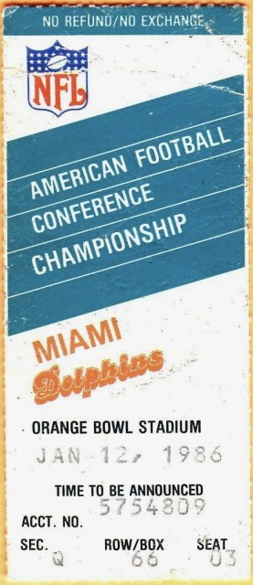 1986 AFC Championship Game Game ticket stub Dolphins Patriots 20