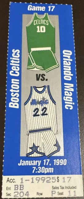 1990 Larry Bird Triple Double Ticket Stub