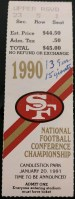 1991 NFC Championship Game ticket stub Giants vs 49ers
