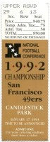 1993 NFC Championship Game ticket stub 49ers Cowboys