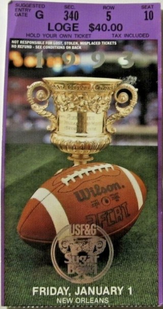 1993 Sugar Bowl ticket stub Alabama vs Miami