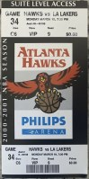 2001 Atlanta Hawks ticket stub vs Lakers
