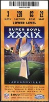 2005 Super Bowl ticket stub Patriots Eagles