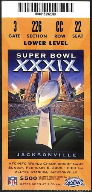 2005 Super Bowl ticket stub Patriots Eagles