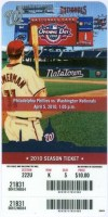 2010 Washington Nationals ticket vs Phillies