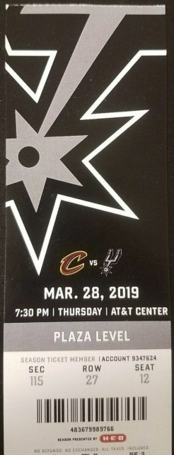 2019 San Antonio Spurs ticket vs Cavaliers