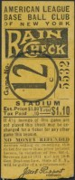 1920s New York Yankees Rain Check Ticket