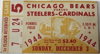 1944 Pittsburgh Steelers - Cardinals ticket stub vs Chicago Bears 75