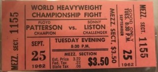 1962 Boxing Remote View unused ticket Sonny Liston vs Floyd Patterson 35
