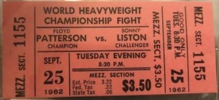 1962 Boxing Remote View unused ticket Sonny Liston vs Floyd Patterson