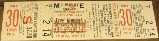 1963 Milw. Braves FULL Ticket Hank Aaron Home Run HR #313 Warren Spahn WIN #334 30