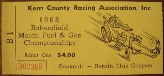 1968 Bakersfield March Fuel and Gas Championship ticket stub