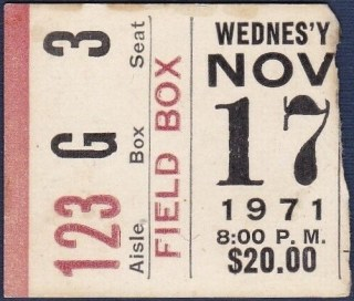 1971 Boxing ticket stub Muhammad Ali vs Buster Mathis